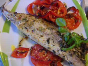 Rezept mit bild makrele im ofen gegrillt mit paprika tomaten beilage