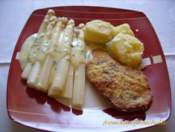 schnitzel mit spargel und sauce hollandaise rezept. Black Bedroom Furniture Sets. Home Design Ideas