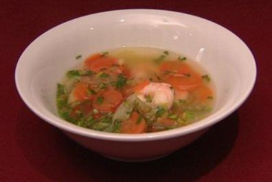 Ingwer-Gemsesuppe mit Crevetten (Elmar Hrig)