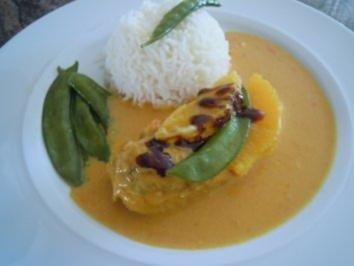Curryhhnchen in Orangensahnesauce
