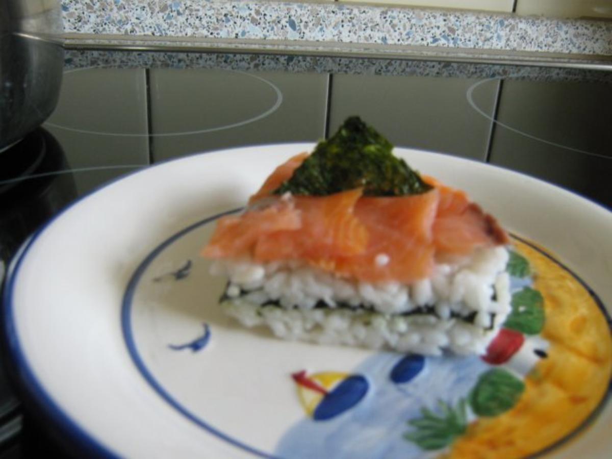 vorspeise kleine sushi torte mit r ucherlachs 15 cm durchmesser rezept. Black Bedroom Furniture Sets. Home Design Ideas