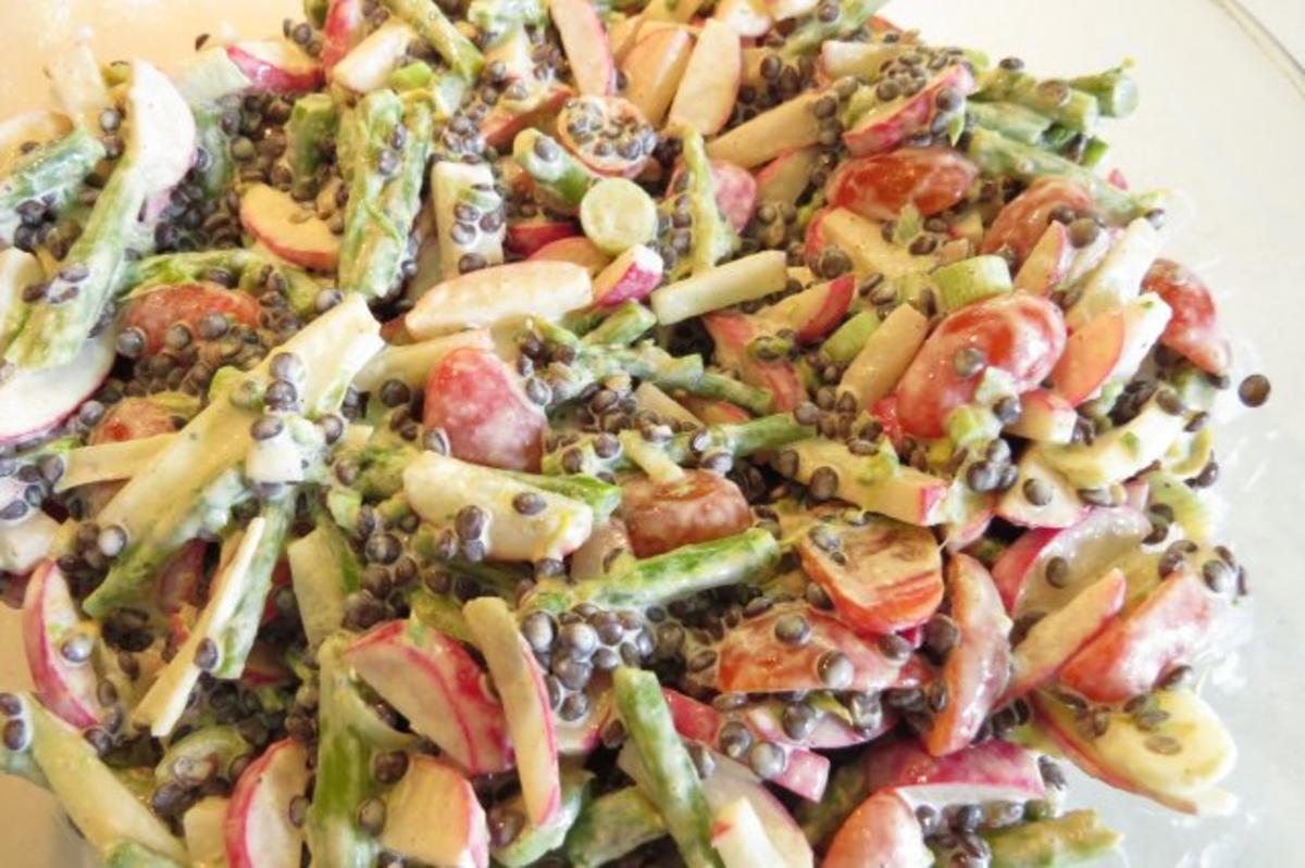 Bunter salat mit radieschen spargel und linsen rezept jpg