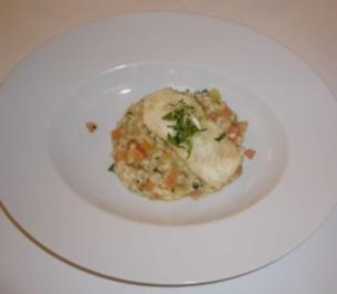 Rezept tomaten basilikum risotto mit gebratenem steinbutt